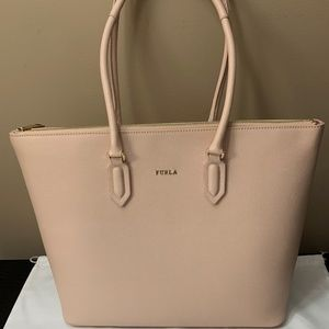 New with Tags Furla PIN Saffiano Leather Tote Pink